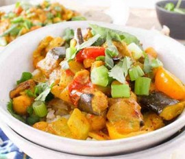 Coconut-Curried Chicken with Roasted Eggplant