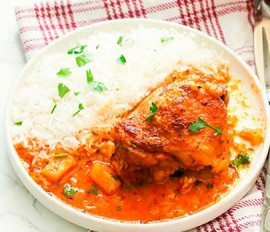 Soy-Braised Cornish Hens with Coconut-Pineapple Sweet Rice
