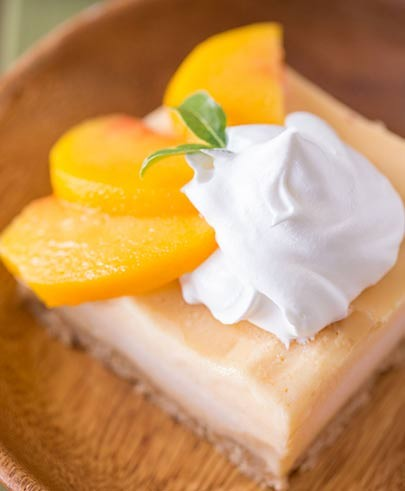 Sliced Canteloupe with Coconut-Peach Cream